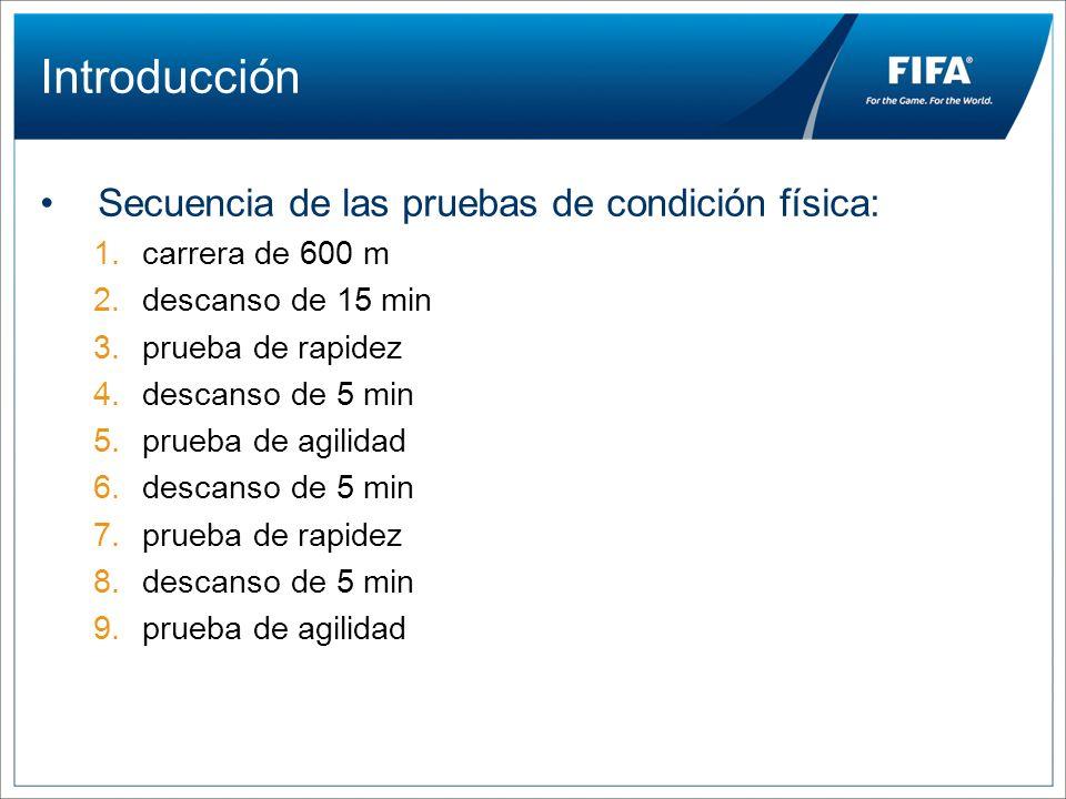 Introducción Secuencia de las pruebas de condición física: 1.carrera de 600 m 2.descanso de 15 min 3.prueba de rapidez 4.descanso de 5 min 5.prueba de