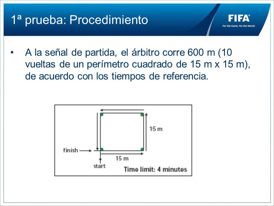 1ª prueba: Procedimiento A la señal de partida, el árbitro corre 600 m (10 vueltas de un perímetro cuadrado de 15 m x 15 m), de acuerdo con los tiempo