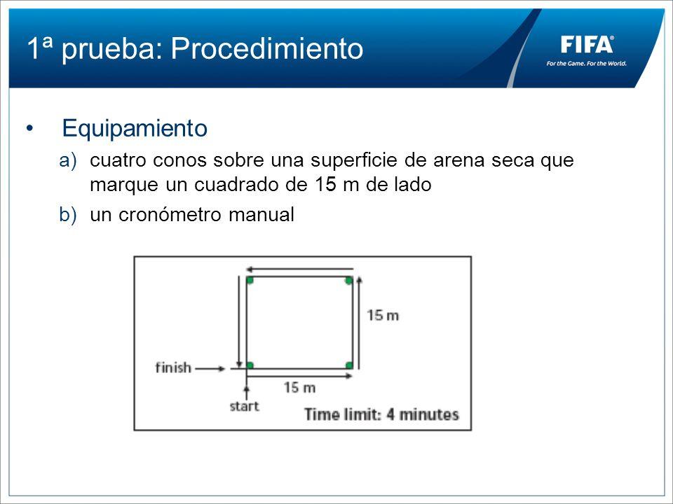 1ª prueba: Procedimiento Equipamiento a)cuatro conos sobre una superficie de arena seca que marque un cuadrado de 15 m de lado b)un cronómetro manual