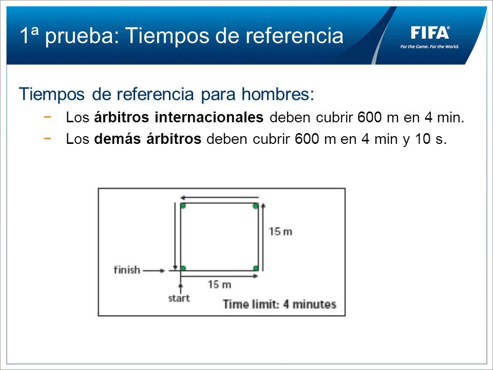 1ª prueba: Tiempos de referencia Tiempos de referencia para hombres: Los árbitros internacionales deben cubrir 600 m en 4 min. Los demás árbitros debe