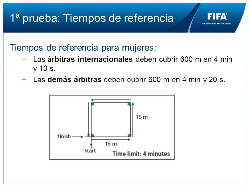 1ª prueba: Tiempos de referencia Tiempos de referencia para mujeres: Las árbitras internacionales deben cubrir 600 m en 4 min y 10 s. Las demás árbitr