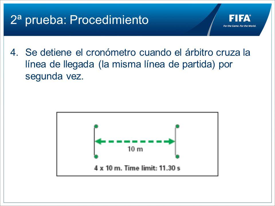 2ª prueba: Procedimiento 4.Se detiene el cronómetro cuando el árbitro cruza la línea de llegada (la misma línea de partida) por segunda vez.
