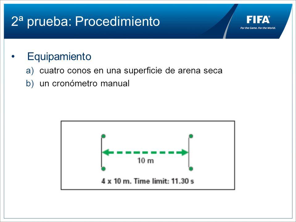 2ª prueba: Procedimiento Equipamiento a)cuatro conos en una superficie de arena seca b)un cronómetro manual