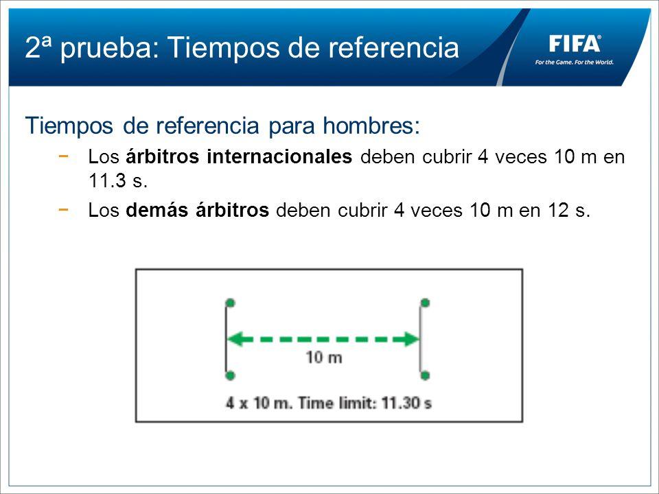 2ª prueba: Tiempos de referencia Tiempos de referencia para hombres: Los árbitros internacionales deben cubrir 4 veces 10 m en 11.3 s. Los demás árbit