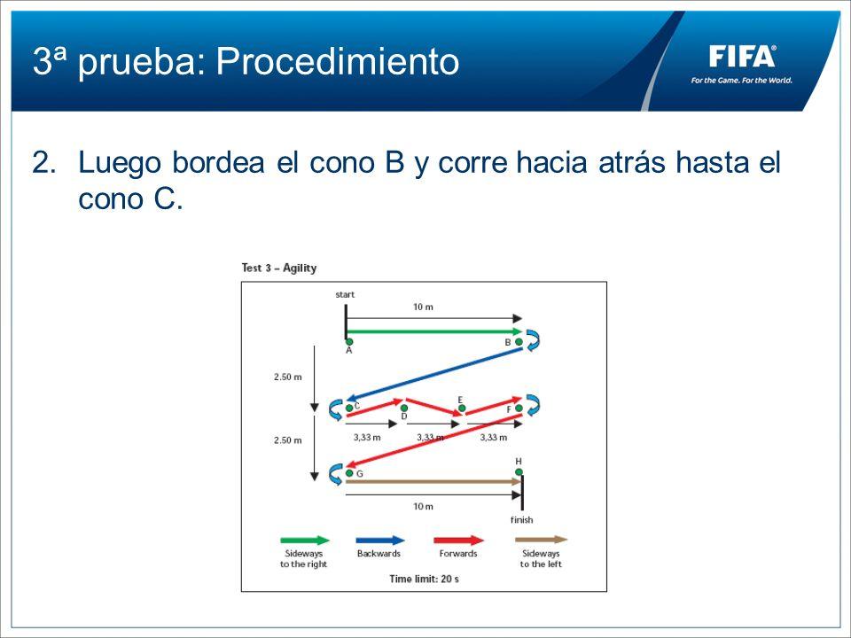 3ª prueba: Procedimiento 2.Luego bordea el cono B y corre hacia atrás hasta el cono C.