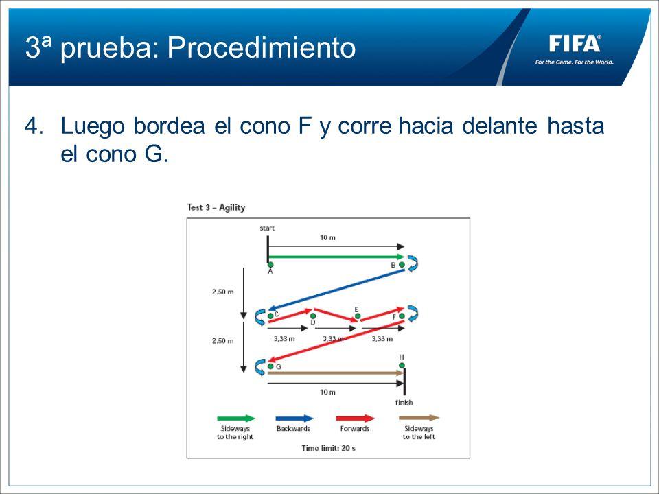 3ª prueba: Procedimiento 4.Luego bordea el cono F y corre hacia delante hasta el cono G.