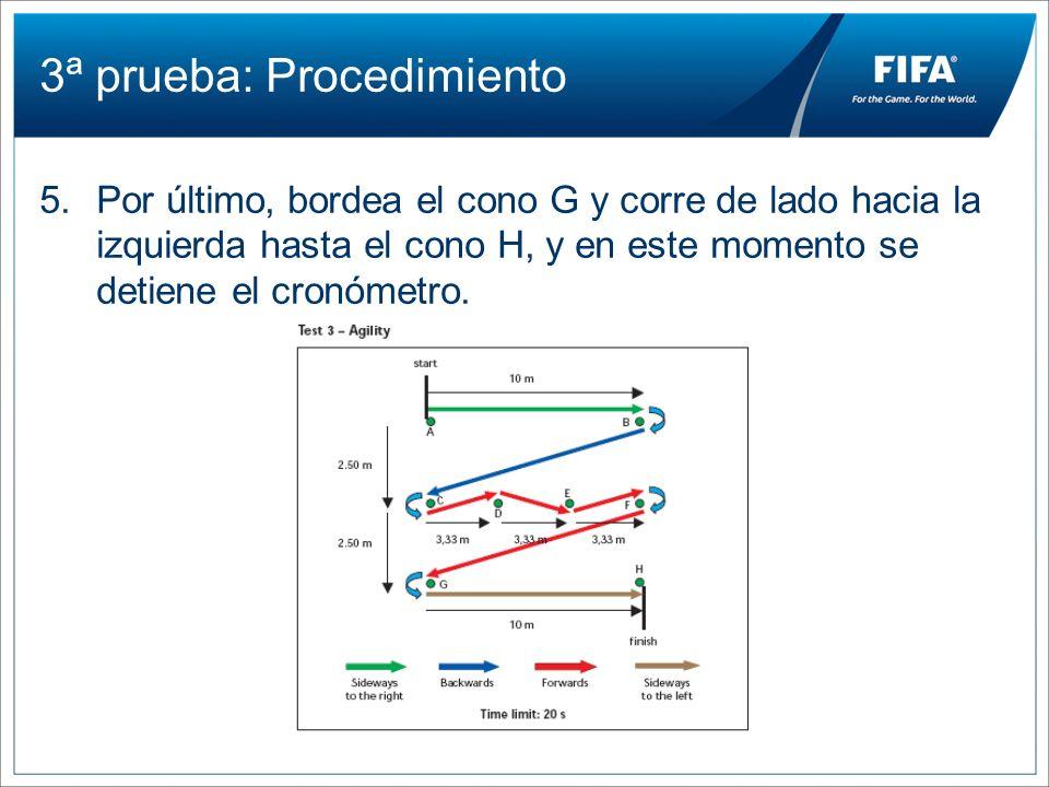3ª prueba: Procedimiento 5.Por último, bordea el cono G y corre de lado hacia la izquierda hasta el cono H, y en este momento se detiene el cronómetro