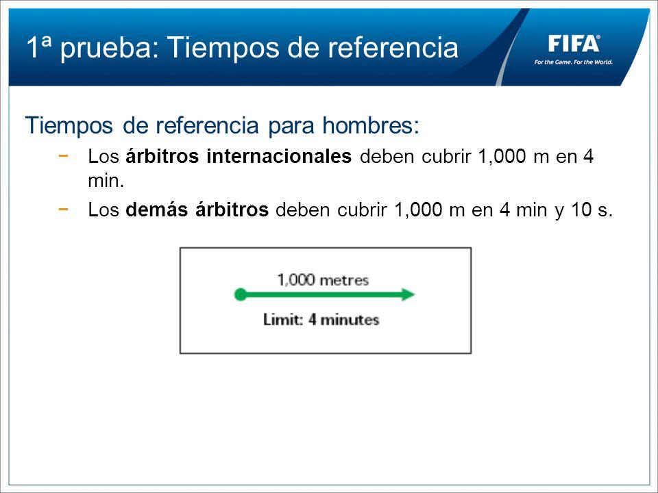 1ª prueba: Tiempos de referencia Tiempos de referencia para hombres: Los árbitros internacionales deben cubrir 1,000 m en 4 min. Los demás árbitros de