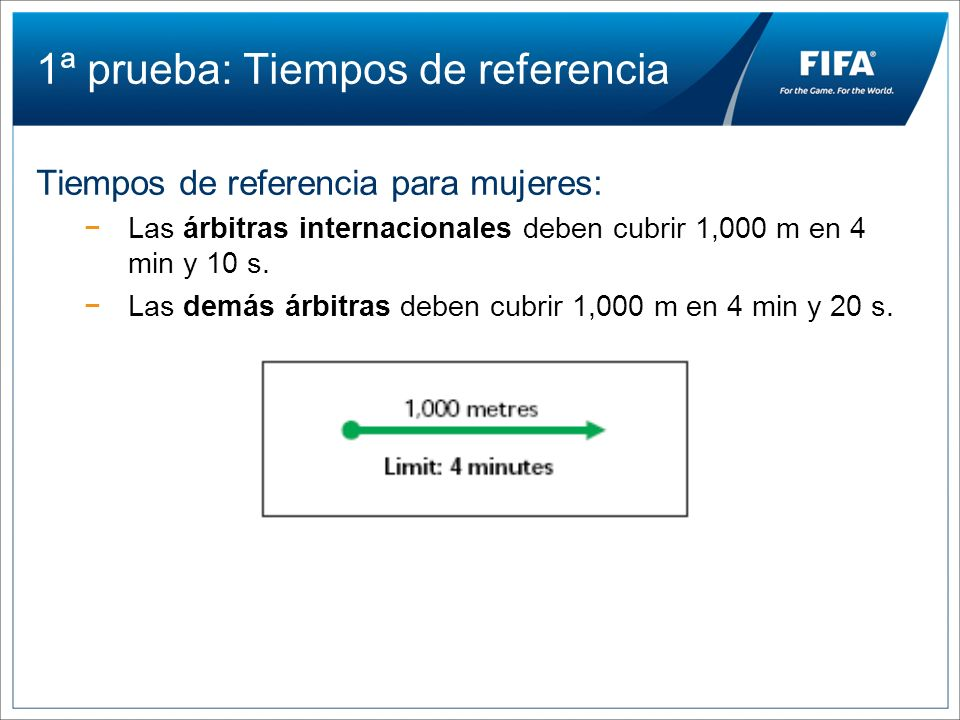 1ª prueba: Tiempos de referencia Tiempos de referencia para mujeres: Las árbitras internacionales deben cubrir 1,000 m en 4 min y 10 s. Las demás árbi