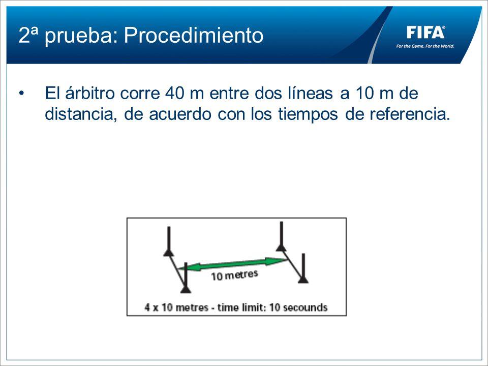 2ª prueba: Procedimiento El árbitro corre 40 m entre dos líneas a 10 m de distancia, de acuerdo con los tiempos de referencia.