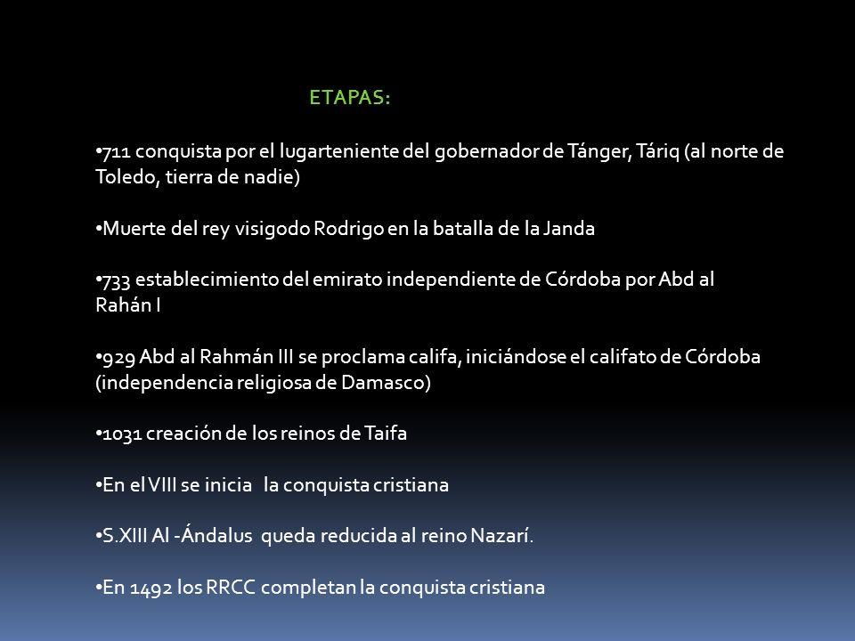 ETAPAS: 711 conquista por el lugarteniente del gobernador de Tánger, Táriq (al norte de Toledo, tierra de nadie) Muerte del rey visigodo Rodrigo en la