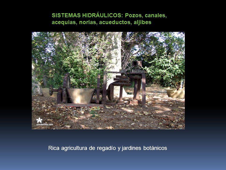 SISTEMAS HIDRÁULICOS: Pozos, canales, acequias, norias, acueductos, aljibes Rica agricultura de regadío y jardines botánicos