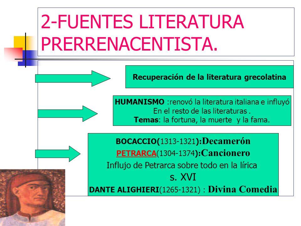 2-FUENTES LITERATURA PRERRENACENTISTA. Recuperación de la literatura grecolatina HUMANISMO :renovó la literatura italiana e influyó En el resto de las
