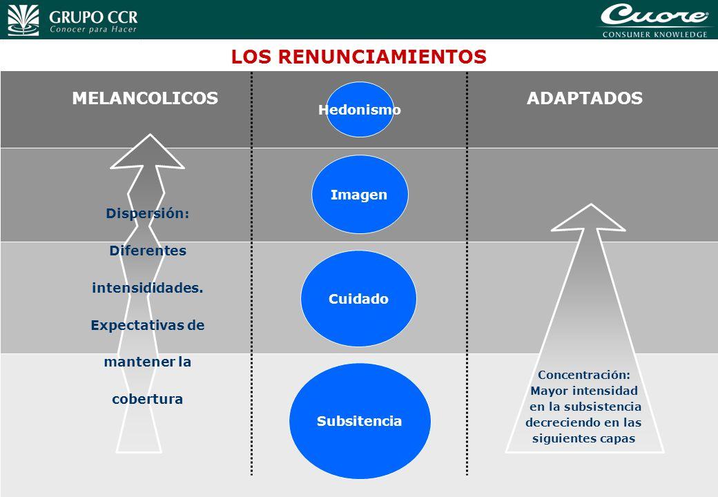 37 Imagen Cuidado Subsitencia LOS RENUNCIAMIENTOS ADAPTADOS Concentración: Mayor intensidad en la subsistencia decreciendo en las siguientes capas MEL