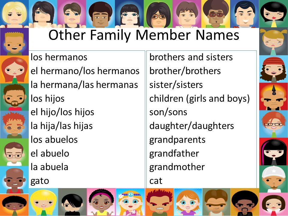 Other Family Member Names los hermanos el hermano/los hermanos la hermana/las hermanas los hijos el hijo/los hijos la hija/las hijas los abuelos el ab
