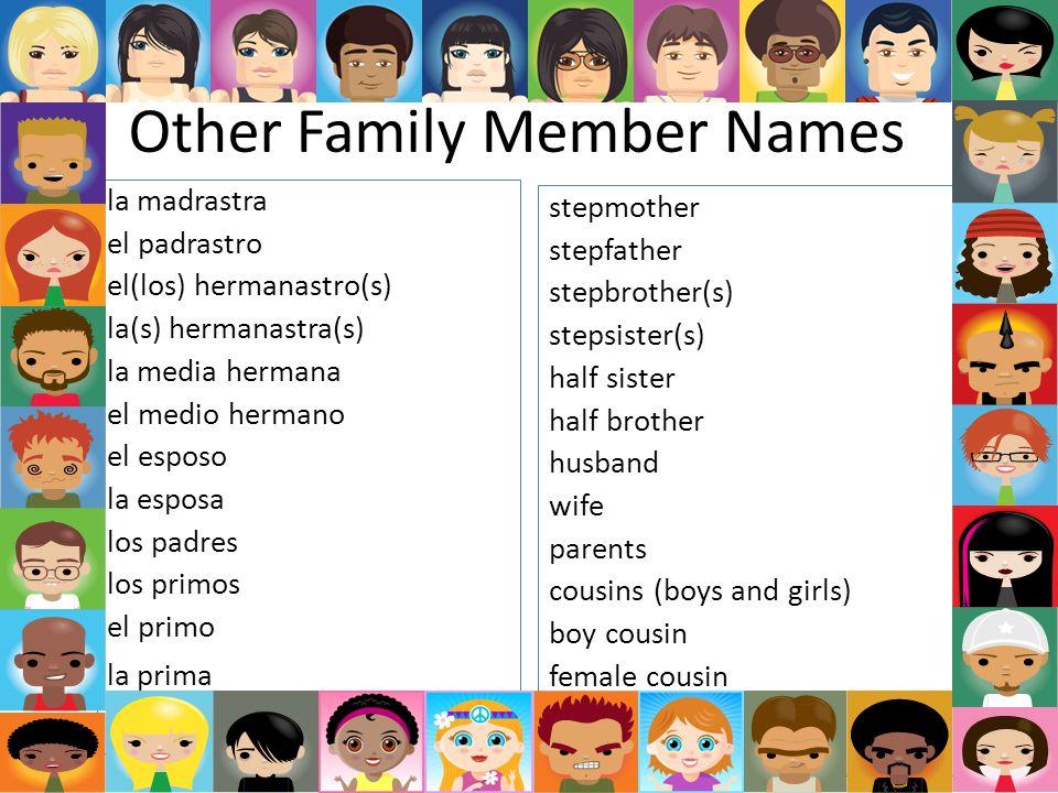 Other Family Member Names la madrastra el padrastro el(los) hermanastro(s) la(s) hermanastra(s) la media hermana el medio hermano el esposo la esposa