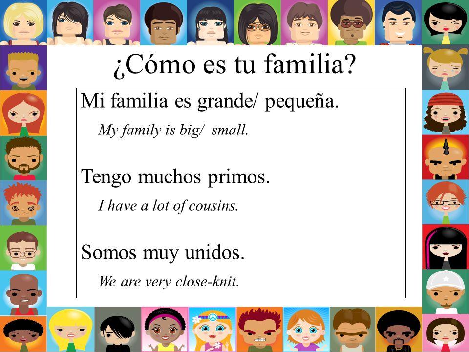 ¿Cómo es tu familia? Mi familia es grande/ pequeña. My family is big/ small. Tengo muchos primos. I have a lot of cousins. Somos muy unidos. We are ve