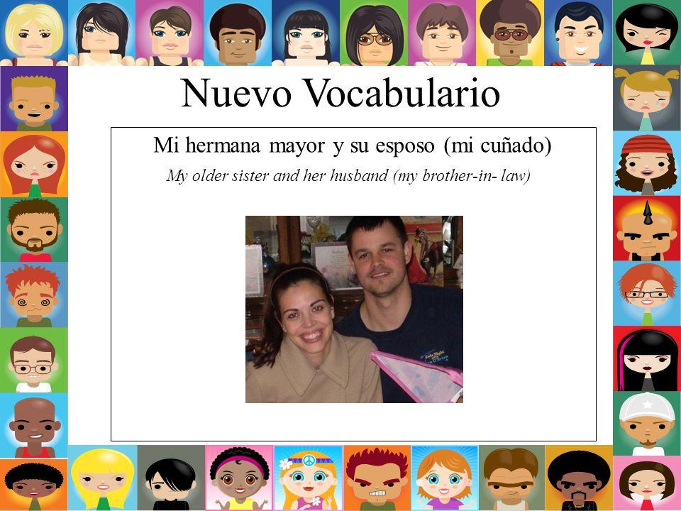 Nuevo Vocabulario Mi hermana mayor y su esposo (mi cuñado) My older sister and her husband (my brother-in- law)