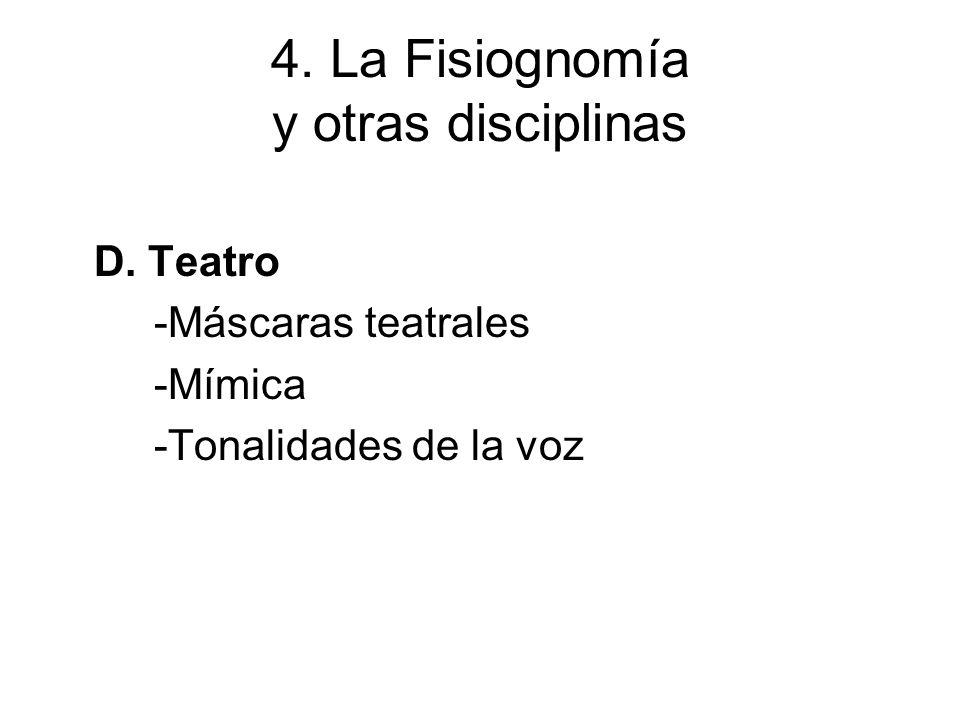 4. La Fisiognomía y otras disciplinas D. Teatro -Máscaras teatrales -Mímica -Tonalidades de la voz
