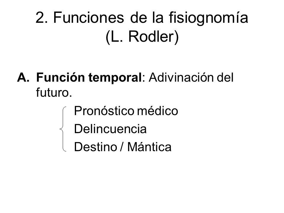 2. Funciones de la fisiognomía (L. Rodler) A.Función temporal: Adivinación del futuro. Pronóstico médico Delincuencia Destino / Mántica