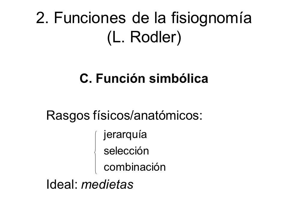 2. Funciones de la fisiognomía (L. Rodler) C. Función simbólica Rasgos físicos/anatómicos: jerarquía selección combinación Ideal: medietas