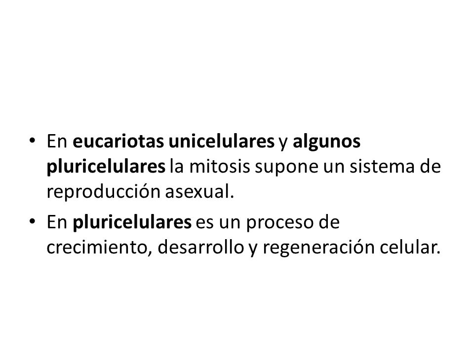 En eucariotas unicelulares y algunos pluricelulares la mitosis supone un sistema de reproducción asexual. En pluricelulares es un proceso de crecimien