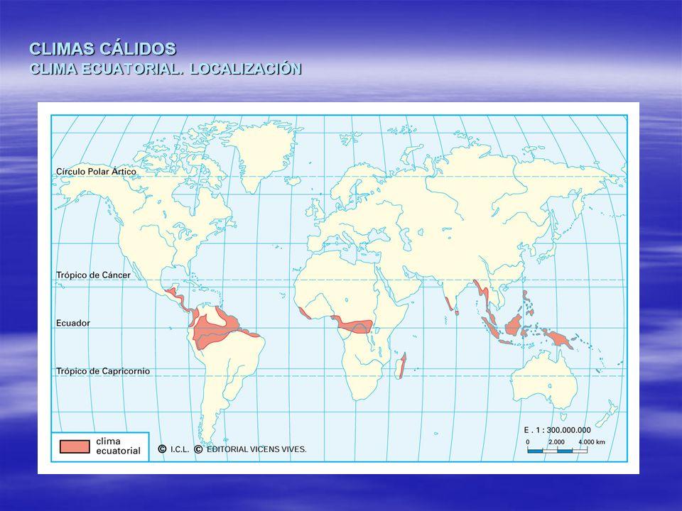 CLIMAS CÁLIDOS CLIMA ECUATORIAL. LOCALIZACIÓN