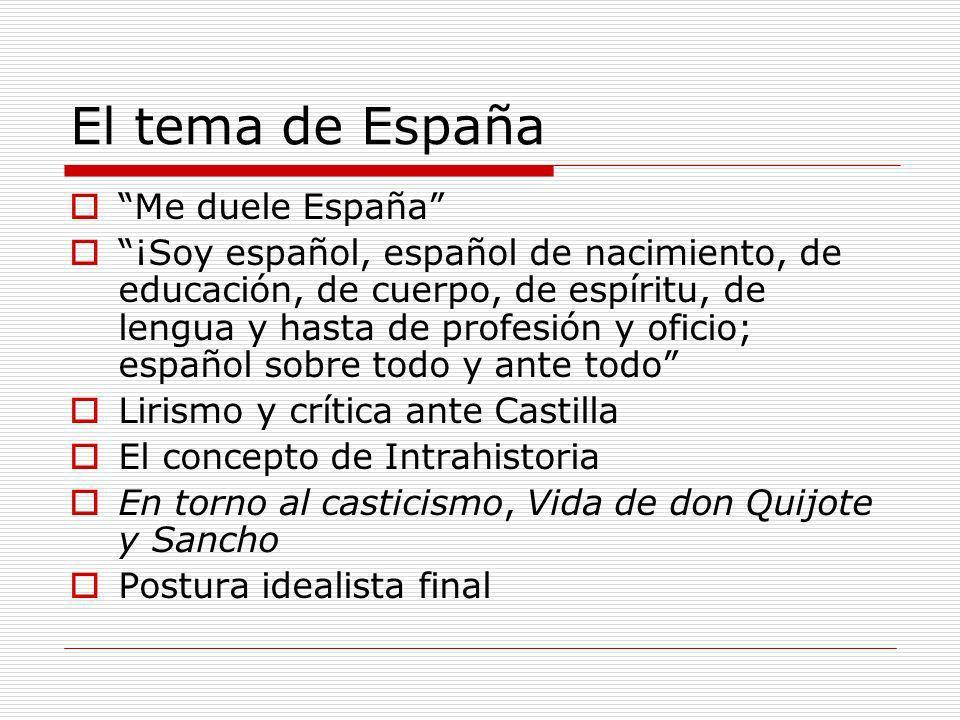 El tema de España Me duele España ¡Soy español, español de nacimiento, de educación, de cuerpo, de espíritu, de lengua y hasta de profesión y oficio;