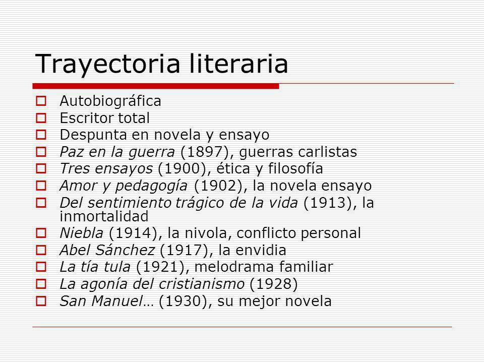 Trayectoria literaria Autobiográfica Escritor total Despunta en novela y ensayo Paz en la guerra (1897), guerras carlistas Tres ensayos (1900), ética