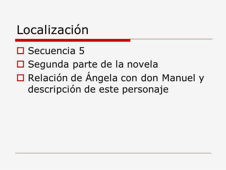 Localización Secuencia 5 Segunda parte de la novela Relación de Ángela con don Manuel y descripción de este personaje