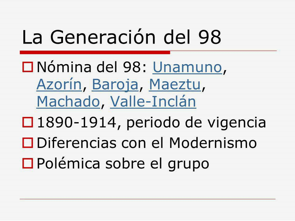 La Generación del 98 Nómina del 98: Unamuno, Azorín, Baroja, Maeztu, Machado, Valle-InclánUnamuno AzorínBarojaMaeztu MachadoValle-Inclán 1890-1914, pe
