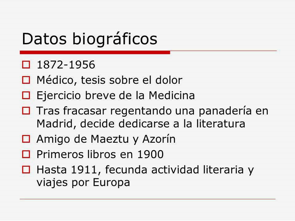 Datos biográficos 1872-1956 Médico, tesis sobre el dolor Ejercicio breve de la Medicina Tras fracasar regentando una panadería en Madrid, decide dedic