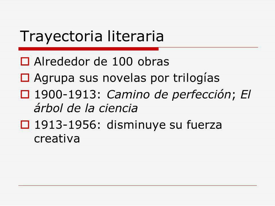 Trayectoria literaria Alrededor de 100 obras Agrupa sus novelas por trilogías 1900-1913: Camino de perfección; El árbol de la ciencia 1913-1956: dismi