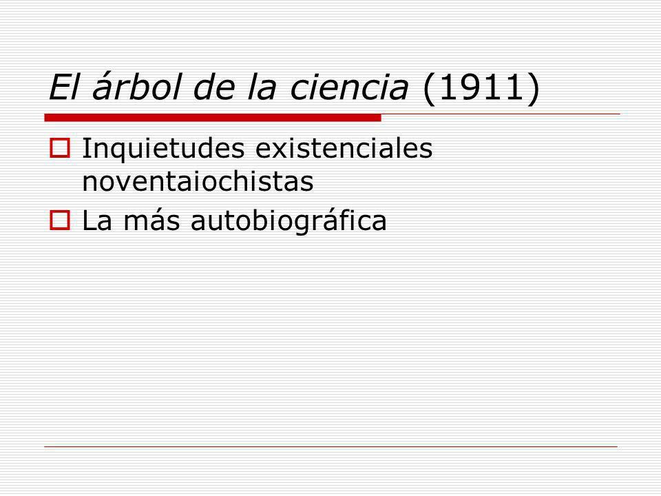 El árbol de la ciencia (1911) Inquietudes existenciales noventaiochistas La más autobiográfica