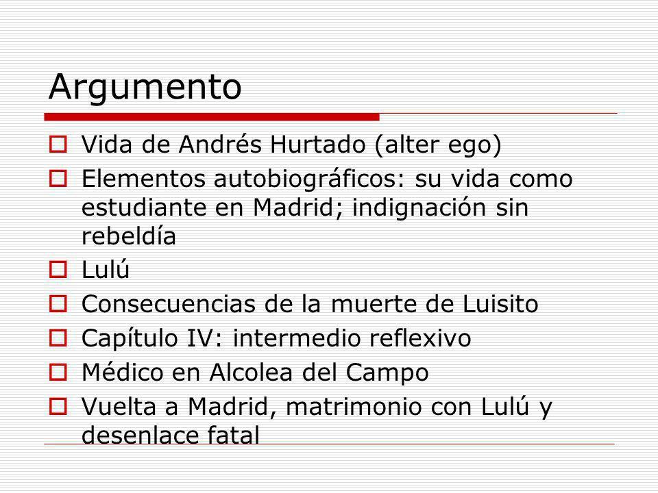 Argumento Vida de Andrés Hurtado (alter ego) Elementos autobiográficos: su vida como estudiante en Madrid; indignación sin rebeldía Lulú Consecuencias