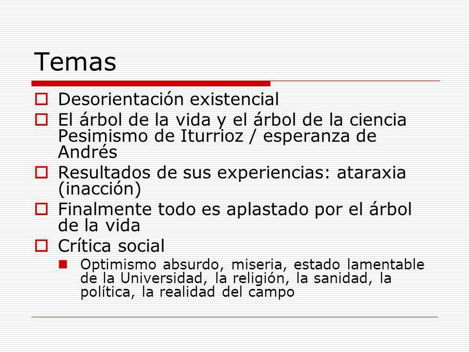Temas Desorientación existencial El árbol de la vida y el árbol de la ciencia Pesimismo de Iturrioz / esperanza de Andrés Resultados de sus experienci