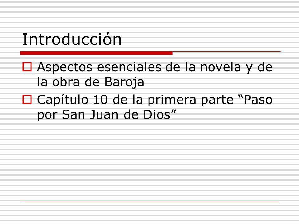 Introducción Aspectos esenciales de la novela y de la obra de Baroja Capítulo 10 de la primera parte Paso por San Juan de Dios