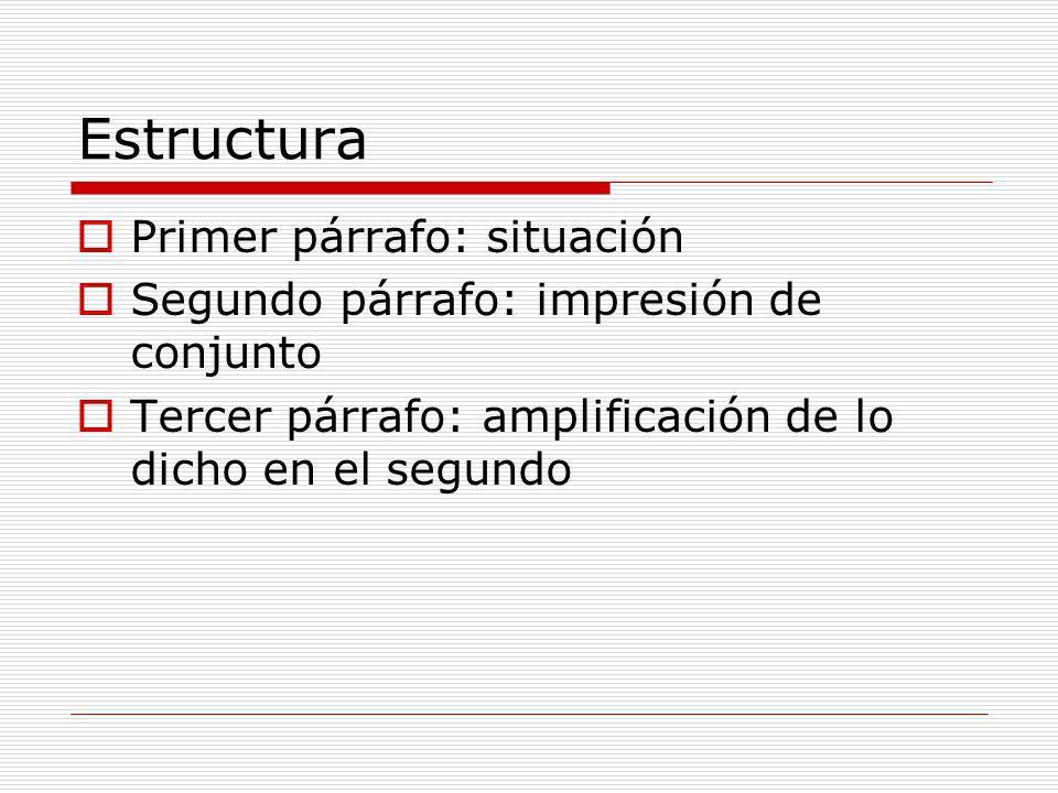 Estructura Primer párrafo: situación Segundo párrafo: impresión de conjunto Tercer párrafo: amplificación de lo dicho en el segundo