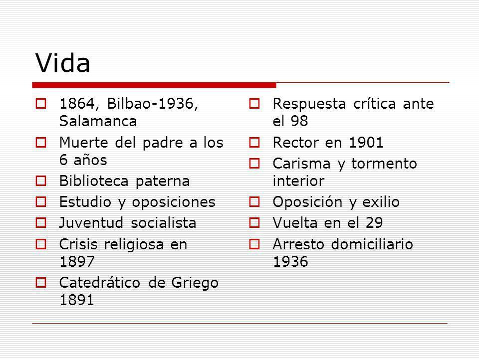 Vida 1864, Bilbao-1936, Salamanca Muerte del padre a los 6 años Biblioteca paterna Estudio y oposiciones Juventud socialista Crisis religiosa en 1897