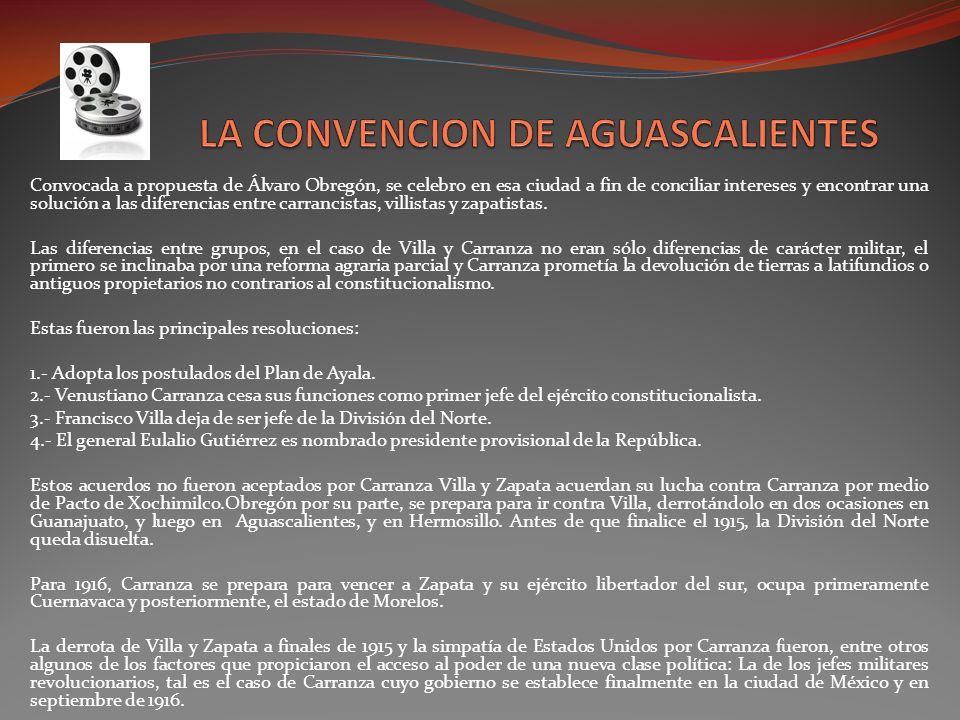 Convocada a propuesta de Álvaro Obregón, se celebro en esa ciudad a fin de conciliar intereses y encontrar una solución a las diferencias entre carran