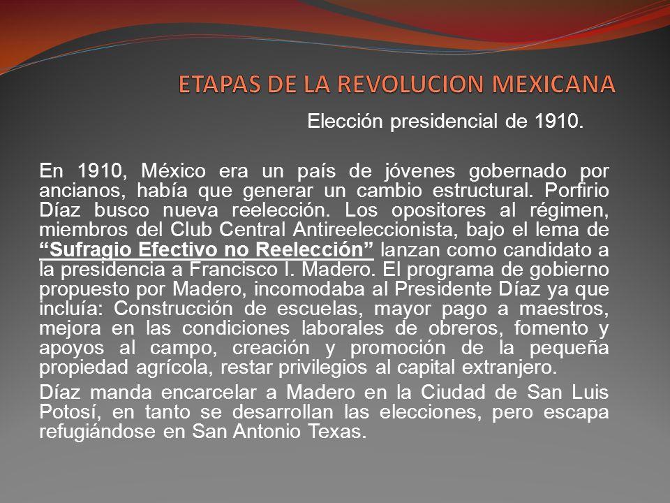 Desde San Antonio Texas, Madero publica y distribuye el 5 de octubre de l910 su Plan de San Luis, donde propone básicamente lo siguiente: Desconocimiento del gobierno de Porfirio Díaz.