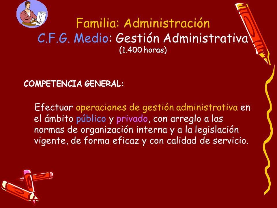 Familia: Administración C.F.G. Medio: Gestión Administrativa (1.400 horas) COMPETENCIA GENERAL: Efectuar operaciones de gestión administrativa en el á
