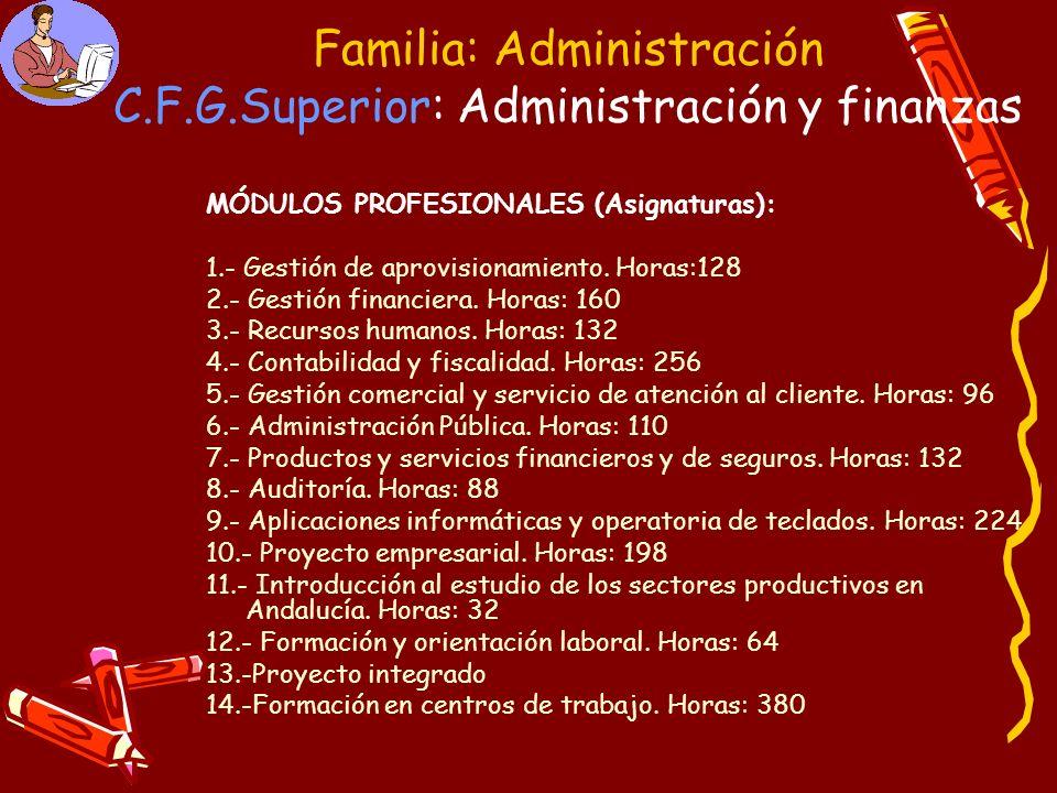 Familia: Administración C.F.G.Superior: Administración y finanzas MÓDULOS PROFESIONALES (Asignaturas): 1.- Gestión de aprovisionamiento. Horas:128 2.-
