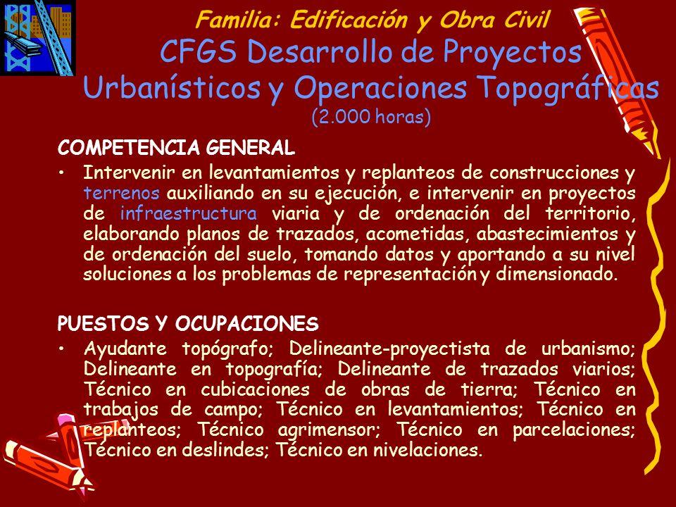 Familia: Edificación y Obra Civil CFGS Desarrollo de Proyectos Urbanísticos y Operaciones Topográficas (2.000 horas) COMPETENCIA GENERAL Intervenir en