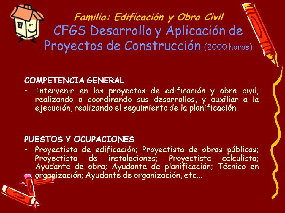 Familia: Edificación y Obra Civil CFGS Desarrollo y Aplicación de Proyectos de Construcción (2000 horas) COMPETENCIA GENERAL Intervenir en los proyect