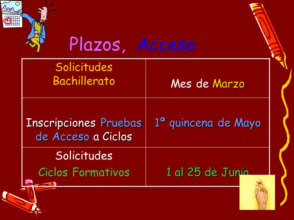Plazos, Acceso Solicitudes Bachillerato Marzo Mes de Marzo Inscripciones Pruebas de Acceso a Ciclos 1ª quincena de Mayo Solicitudes Ciclos Formativos