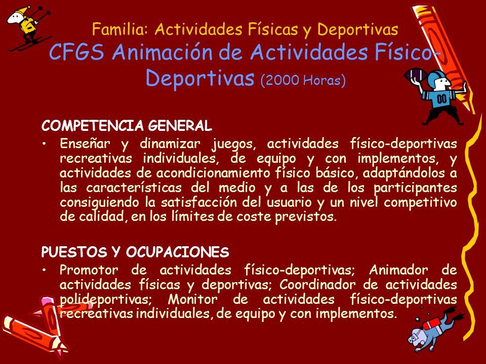 Familia: Actividades Físicas y Deportivas CFGS Animación de Actividades Físico- Deportivas MÓDULOS PROFESIONALES (asignaturas): 1.- Juegos y actividades físicas recreativas para animación.