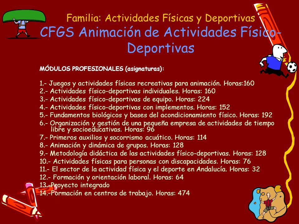 Familia: Actividades Físicas y Deportivas CFGS Animación de Actividades Físico- Deportivas Acceso a Estudios Universitarios EDUCACION SOCIAL ENFERMERÍA FISIOTERAPIA NUTRICIÓN HUMANA Y DIETÉTICA PODOLOGÍA RELACIONES LABORALES TERAPIA OCUPACIONAL TRABAJO SOCIAL TURISMO MAESTRO: AUDICIÓN Y LENGUAJE, EDUC.