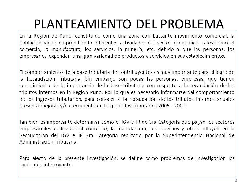 PLANTEAMIENTO DEL PROBLEMA En la Región de Puno, constituido como una zona con bastante movimiento comercial, la población viene emprendiendo diferentes actividades del sector económico, tales como el comercio, la manufactura, los servicios, la minería, etc.