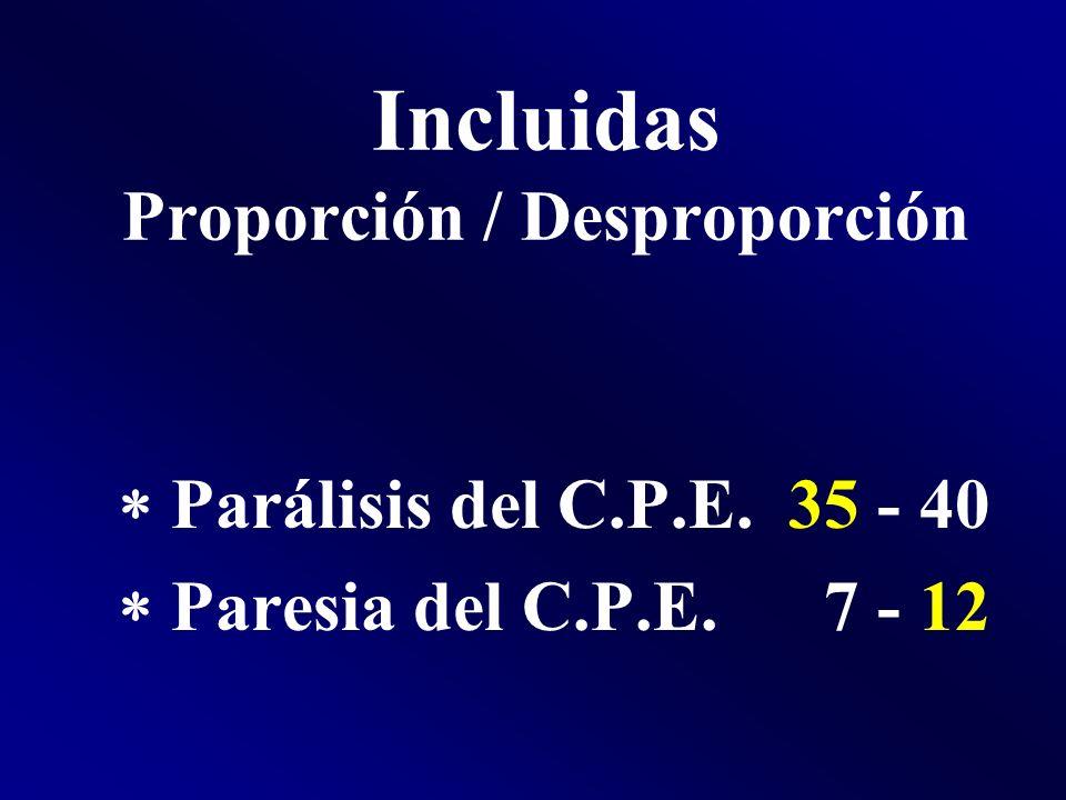 Incluidas Proporción / Desproporción Parálisis del C.P.E. 35 - 40 Paresia del C.P.E. 7 - 12